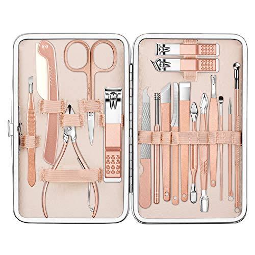 ZWOOS Tagliaunghie Set, 18 Pedicure Nail Clippers Set Pedicure Kit Professionale in Acciaio Inox Forbici Per Donne e Uomini (Rosa)