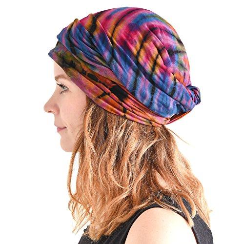 Casualbox Tie Dye Headband Hippie Moda Elastico Testa Incarto Copertina 60'S 70'S Retrò Bandana Fiore Modello B