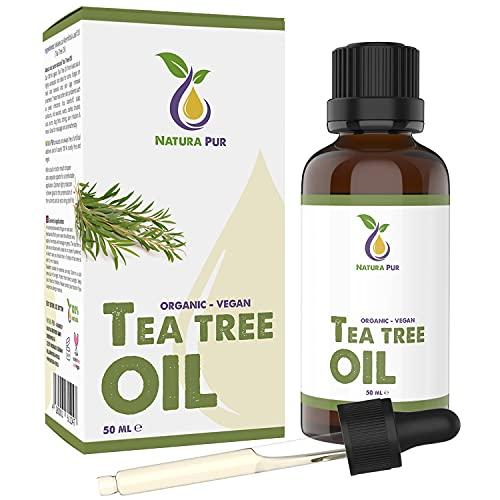 Tea Tree Oil BIO 50ml con pipetta - Olio Tea Tree puro anti acne, brufoli e punti neri, Olio Essenziale di Albero del Tè per aromaterapia diffusore massaggio