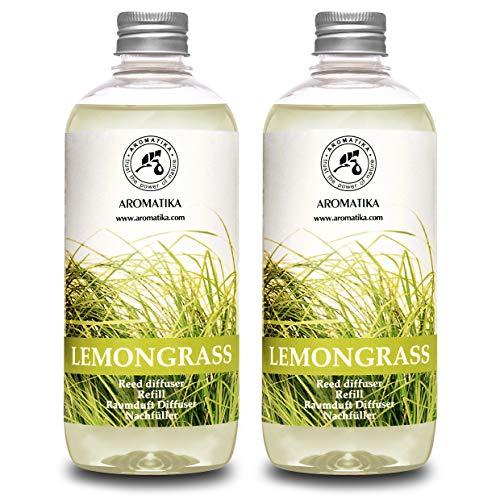 Ricarica Diffusore di Profumo per Ambiente Lemongras 1000ml - 2x500ml - Olio Essenziale con Naturale Citronella - Fragranze Naturali Intenso e Duraturo - Alcool 0% - Diffusore a Lamella di Fragranza