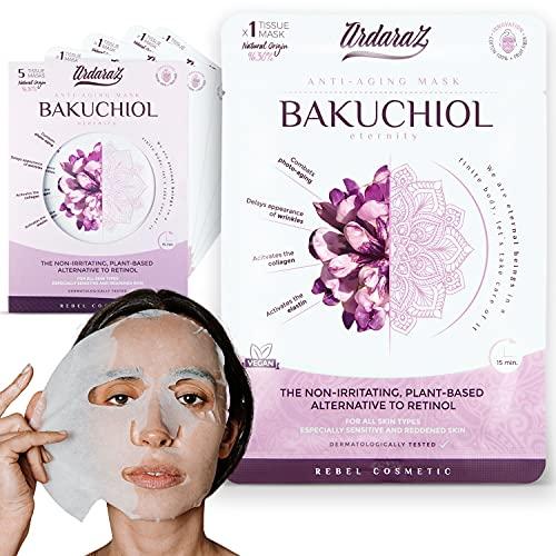 Ardaraz - Maschera viso Idratante Antiossidante e Ringiovanente, con Siero di Bakuchiol. Set maschere viso da 5