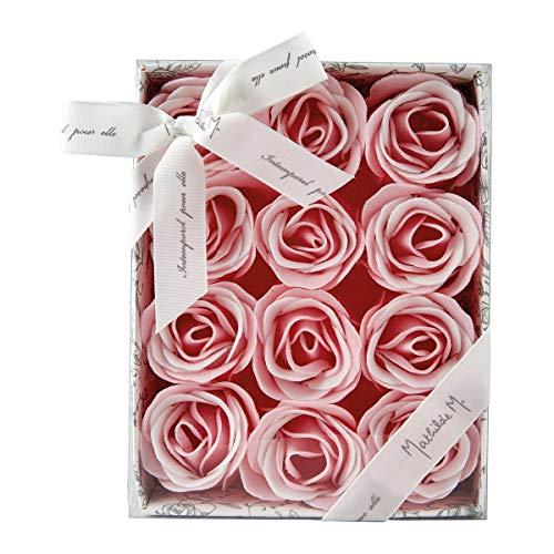 Mathilde m scatola 12 rose in fogli di sapone monouso profumate saponette profumo rosa
