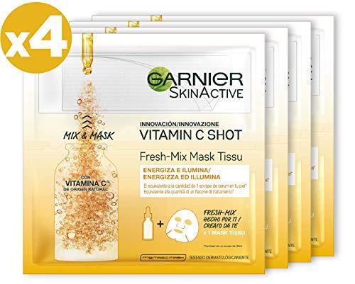 Garnier Skinactive Maschera in Tessuto Fresh Mix Arricchita con Vitamina C, Pelle Illuminata ed Energizzata, Confezione da 4 Pezzi