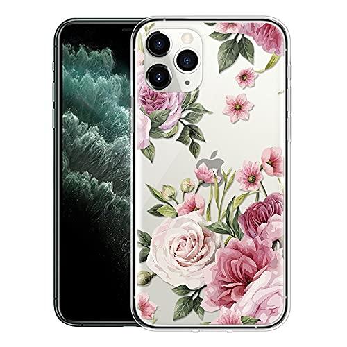 ZhuoFan Cover iPhone 11 2019, Custodia Cover Silicone Trasparente con Disegni Ultra Slim TPU Morbido Antiurto 3d Cartoon Bumper Case Protettiva per Apple iPhone 11 (Fiore rosa)