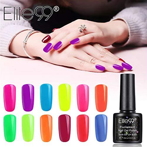 Elite99 Smalto Semipermanente per Unghie in Gel Fluorescenza UV LED 12pzs Set di Smalti Colori Lucente Kit per Manicure Smalti in Gel er Unghie Soak Off Smalto per unghie,10ML