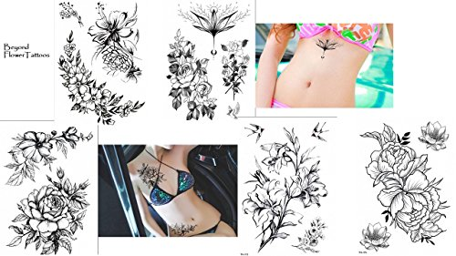 Set di 5 modelli di tatuaggi a forma di rosa, motivo floreale, tatuaggi temporanei