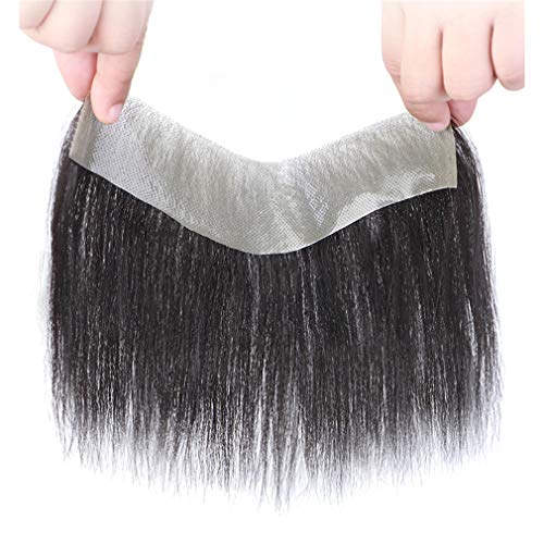 Capelli umani invisibili Toupee Fronte Bang Hairpiece 4,1 x 17,8 cm V forma di capelli pezzo per uomo linea sottile diradamento capelli