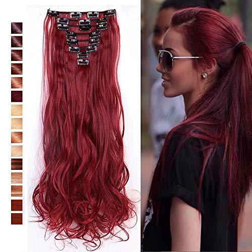 S-noilite® Set 8pcs 60cm extension capelli clip nelle estensioni dei capelli della parte dei capelli ondulato o liscio pieno Testa vari colori marrone mix rosso scuro