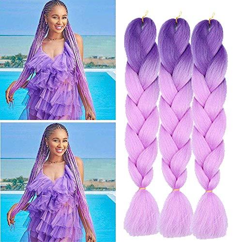 Extension con capelli intrecciati, capelli sintetici colorati, resistenti al calore, per il fai da te, in trecce, colore viola, 100 g/pz. 60 cm