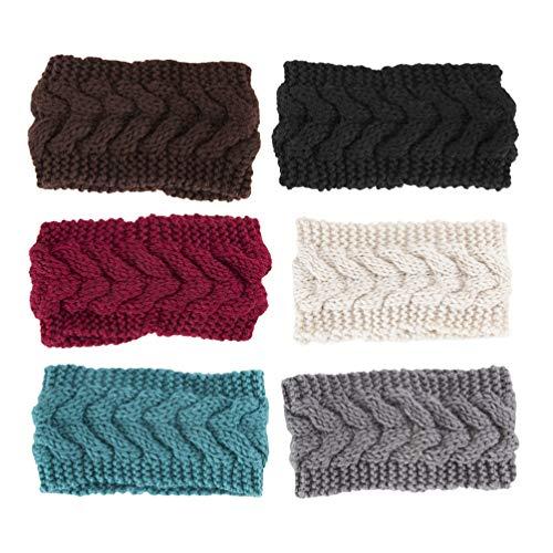 Lurrose 6 pezzi di fascia per capelli in lana invernale scaldino per le orecchie fascia per capelli in tinta unita set di cappelli per il quotidiano e lo sport (blu beige rosso caffè nero grigio)