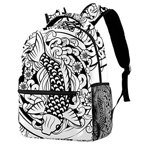 Zaino Pesce Carpa Fiore Giapponese Tatuaggio Scuola Zaino Viaggio Casual Daypack per Donne Teen Ragazze Ragazzi