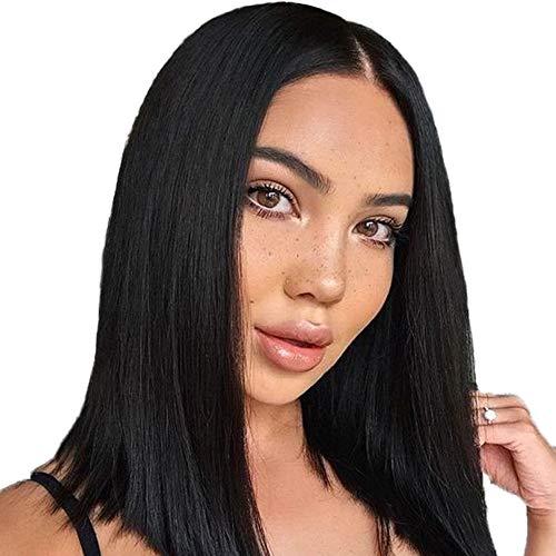 Parrucca sintetica dritta corta a taglio smussato Parrucca in fibra resistente al calore con parte centrale Attaccatura dei capelli naturale per le donne Ragazze (nero naturale, 14 pollici)