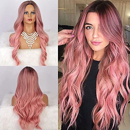 YEESHEDO Parrucca donna rosa lunga riccia, parrucche capelli naturale lunghi ricci ondulati capelli ombre rosso-arancio pink wig 26 pollici