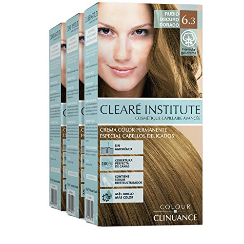 CLEARÉ INSTITUTE Colore Clinuance | Colorazione permanente | Per capelli delicati | Senza ammoniaca | 6.3. Scuro biondo dorato | 170ml (x3)