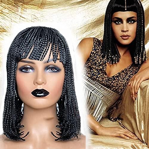 LLKK Parrucca corta intrecciata con frangia per donne nere, parrucca a treccia all'uncinetto, parrucca sintetica con treccia dritta e treccia, per tutti i giorni o cosplay