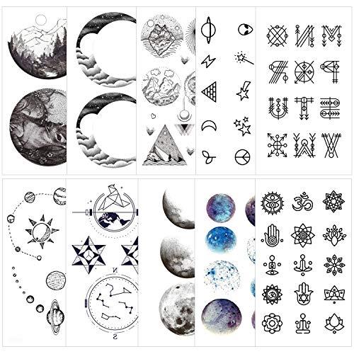 Konsait 78pcs finti tatuaggi temporanei per adulti donna uomo bambini, neri impermeabile Tatuaggio Temporaneo Tattoo tatuaggio adesivi