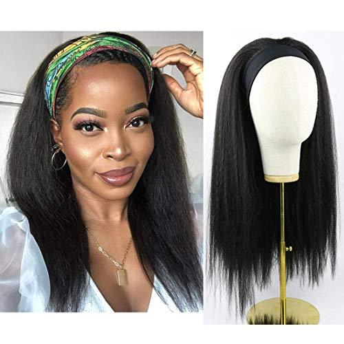 lisci crespi parrucche capelli veri con archetto 150% Densità del capelli umani ricci 100% extension capelli veri ricci nero naturale 18 pollice