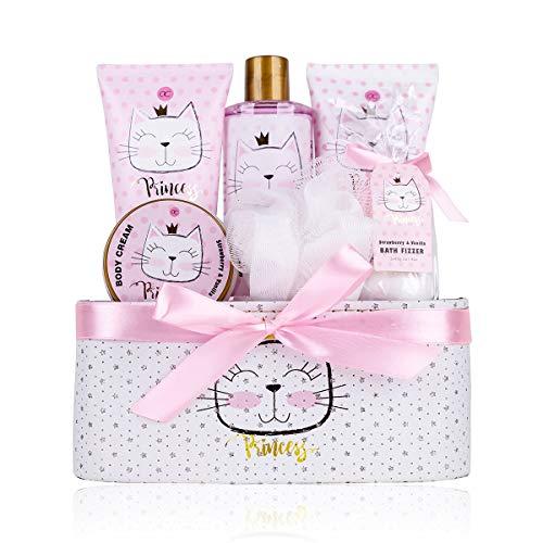 Accentra - Set regalo Princess Kitty per bambina, con aroma alla fragola e alla vaniglia, 7 pezzi