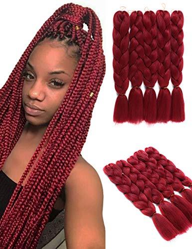 5 pezzi estensioni dei capelli intrecciati jumbo rosso vino 24 pollici capelli intrecciati sintetici Xane moda Xane Kanekalon