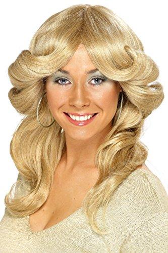SMIFFYS Smiffy's, biondo, Parrucca anni '70 stile Flick, capelli lunghi, ondulati e a strati Donna, Taglia unica, 42251