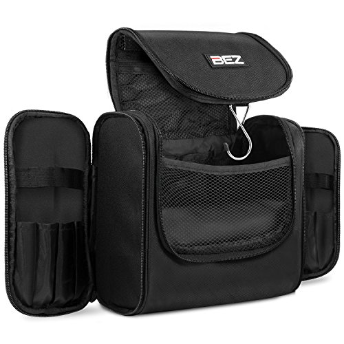 Beauty Case da Viaggio, BEZ™ Borsa Toilette per Uomo e Donna, Trousse Make Up con Gancio, Ripiegabile e Impermeabile, Nero