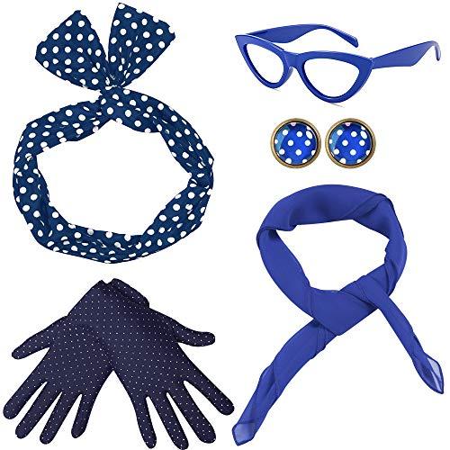 Coucoland 50s Accessori Bandana Cravatta Fascia Chiffon Sciarpa Occhio di Gatto Occhiali 50s Orecchini e Guanti 1950s Accessori Costume Blu Etichettalia unica