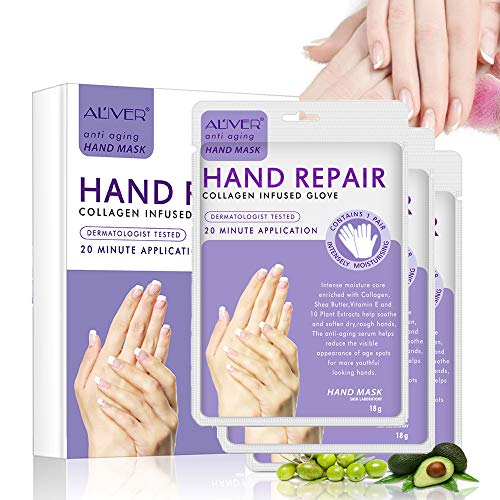 Guanti idratanti per pelli secche, maschera nutriente per le mani, con collagene, per uomini e donne, per la depilazione e il benessere delle mani