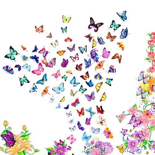 KATOOM 12 Fogli Adesivi per Tatuaggi Temporanei,Tatuaggio Temporaneo a Farfalla Bello Impermeabile Removibile Bambino Festa di Compleanno attività a Tema Scuola Elementare