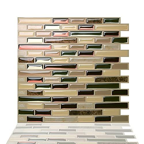 Tic Tac Tiles 25cm x 25cm 5 Pezzi 3D Piastrelle Mosaico Adesive Piastrelle Cucina, mattonelle adesive bagno- Mosaico Como Mare (Beige; Marmo marrone; Rosso; Verde)