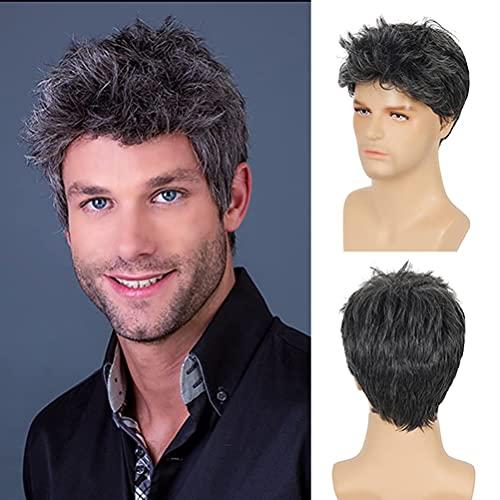 Parrucca nera da uomo Parrucca sintetica grigia a strati corti misti per capelli ricci per Halloween Cosplay con cappuccio per parrucca