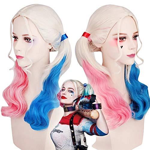 thematys Harley Quinn Parrucca - Accessori per Il Costume da Donna - Perfetto per Il Carnevale e Cosplay - Ideale da Abbinare al Costume