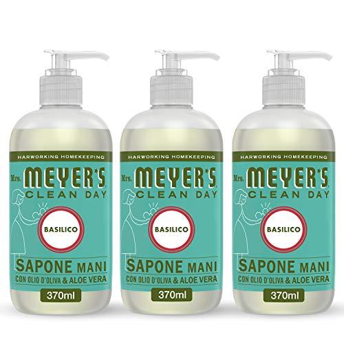 MRS MEYERS Clean Day Sapone Liquido Mani, Fragranza Basilico, Prodotti creati con Oli essenziali, 3 x 370 ml
