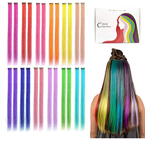 Kyerivs Colored clip in Hair extensions 50 cm arcobaleno resistente al calore dritto highlight Hairpieces Cospaly Fashion party per bambini Estensioni per capelli arcobaleno in 12 colori 24 pz