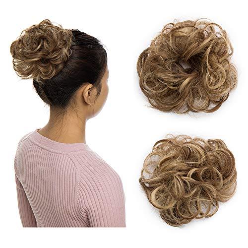 Elailite Chignon Capelli Finti Extension Elastico Ponytail Hair Extensions Toupet Donna Scrunchie Posticci Ricci, Marrone Chiaro/Biondo Cenere