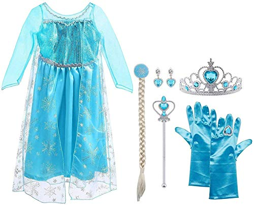 Vicloon Elsa Costume, Set da Principessa Elsa Corona Bacchetta Guanti Treccia,Ragazze Elsa Principessa delle Neve Abiti Partito Vestito Costume