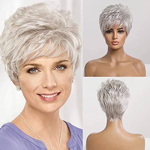Emmor parrucche corte per capelli umani grigio argento per donna parrucca taglio pixie con frangia, capelli naturali per uso quotidiano