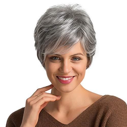 Emmor Parrucche corte grigie per capelli umani per donna Parrucca naturale con taglio pixie, capelli per uso quotidiano