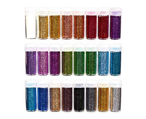 perfect ideaz 24 x 10 g (240g) kit di polvere glitter colorata, 24 colori, fare lavori manuali in barattolo con coperchio con setaccio, sabbia decorativa per bambini, decorare cartoline & cartoncini