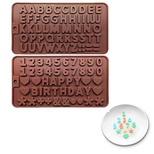 Stampo per dolci e cubetti di ghiaccio, antiaderente, riutilizzabile, in silicone, per lettere e numeri, per dolci dolci, gelati, torte, muffin, candele, saponi, gelatine, mousse