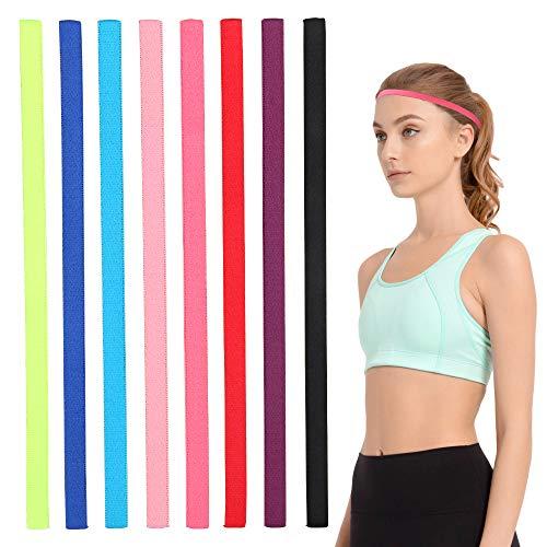 8 pezzi fasce per capelli sportivi fasce elastiche sottili per capelli fascia antiscivolo per jogging corsa allenamento calcio yoga e altro ancora