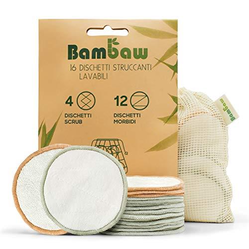 Dischetti struccanti lavabili in bambù   16 dischetti struccanti riutilizzabili con sacchettino   Panni struccanti lavabili   Dischetti struccanti ecologici   Per tutti i tipi di pelle   Bambaw