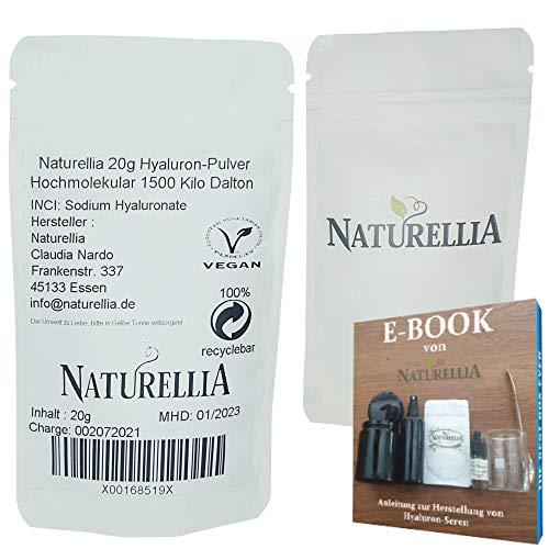 Naturellia Acido Ialuronico Polvere 20 Grammi 1500k-Dalton Altamente Concentrato - Alta Molecolare Peso Per Effetto Superficiale per Solo Mescolarsi Una Crema Anti-Etá a Casa