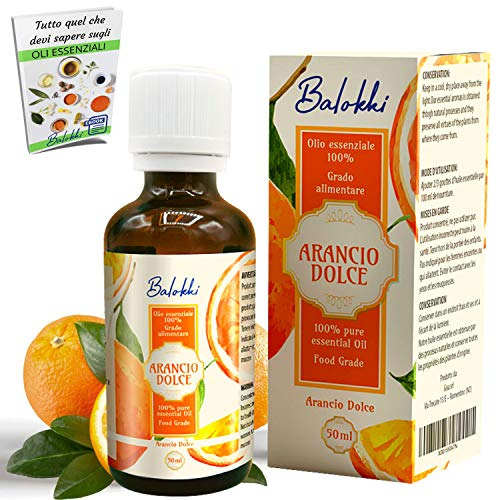 Olio Essenziale Arancio Dolce Grado Alimentare + Ebook Incluso • MADE IN ITALY • 100% Puro Naturale per Aromaterapia e Diffusore • Calmante e Purificante • Levigante per Viso e Corpo • Vetro 50 ml