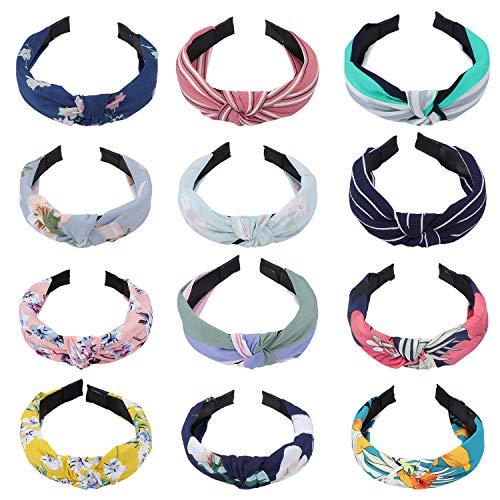 TsunNee - Set di fasce per capelli con nodo, elastiche, stile floreale bohémienne, per donne e ragazze, 12 pz, 12 colori