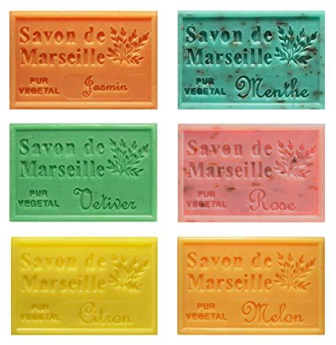 Piccolo Stock 6 (sei) pezzi Saponetta di Marsiglia 125g Profumazioni miste 6 pz x 125g Jasmin Menta Vetiver Rosa Limone Melone