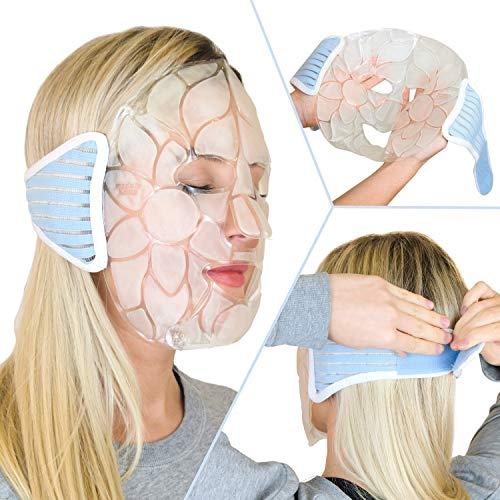 Maschera fredda per il viso di lusso - Confezione gel ghiacciata riutilizzabile con supporto in morbido cotone. Impacco di ghiaccio rinfrescante per il viso di alta qualità per un sonno migliore, occhi gonfi e una pelle migliorata (da Magic Gel)
