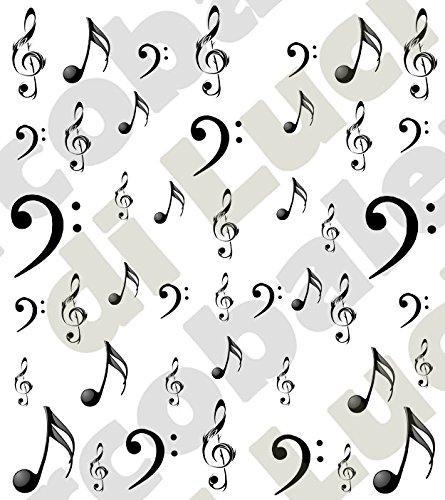 AWS set Water decals Note e chiavi musicali Foglietto unghie Nail Art adesivi transfer ad acqua Sheet color musical key stickers chiave di violino di sol chiave di basso tattoo tattoo (nero)