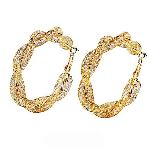 Orecchini a cerchio glitterati in stile bohémien con cristalli luccicanti, con perle e smalto a C, idea regalo per donne e ragazze e Lega, colore: Orecchini rotondi con zircone, cod. E137-UK