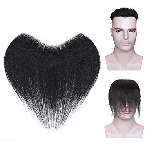 Elailite Toupee Uomo Capelli Veri Toupet Protesi Frontale Extension Hair Topper 4 * 18CM 100% Indian Human Hair Lisci 15cm 20g #1B Nero Naturale
