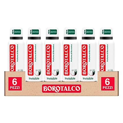 6x Borotalco Deo Spray Invisible Deodorante al Profumo di Borotalco Anti Macchia Extra Asciutto Senza Alcool e Efficace 48h - 6 Flaconi da 150ml ognuno